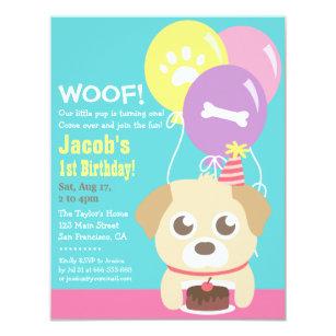 Cute Puppy Dog Themed Kids Birthday Party Invitation