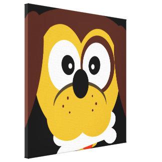 Cute Puppy Dog With Bone Cartoon Pop Art Canvas Print