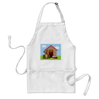 Cute Puppy Dog with Dog House Illustration Adult Apron