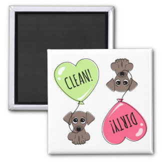 Cute puppy dog with heart balloon clean dirty 2 inch square magnet