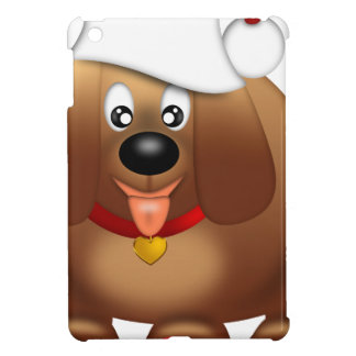 Cute Puppy Dog with Red Santa Hat iPad Mini Cases