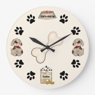 Cute Puppy Dogs, Paw Prints and Bone Large Clock