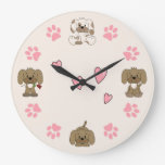 Cute Puppy Dogs, Pink Paw Prints and Pink Hearts Large Clock
