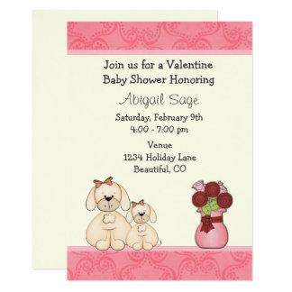 Cute Puppy Dogs Valentine Baby Shower Invite Girls