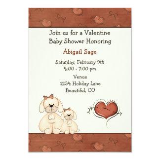 Cute Puppy Dogs Valentine Girls Baby Shower 5x7 Paper Invitation Card