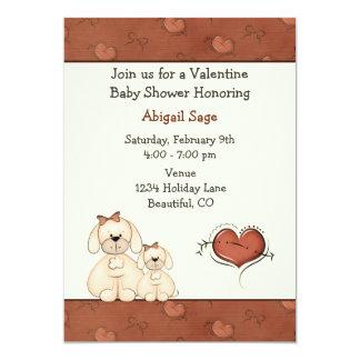 Cute Puppy Dogs Valentine Girls Baby Shower Card