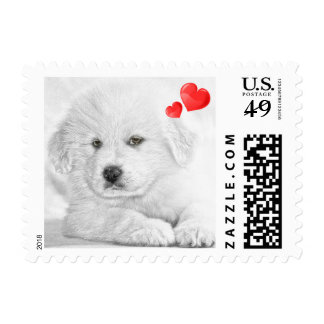 Cute Puppy Drawing Valentines Day Postage