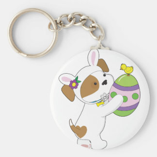 Cute Puppy Easter Egg Basic Round Button Keychain