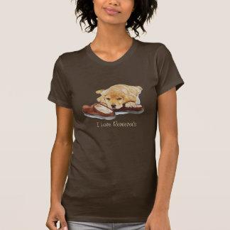 cute puppy golden retriever cuddling slippers art t-shirt