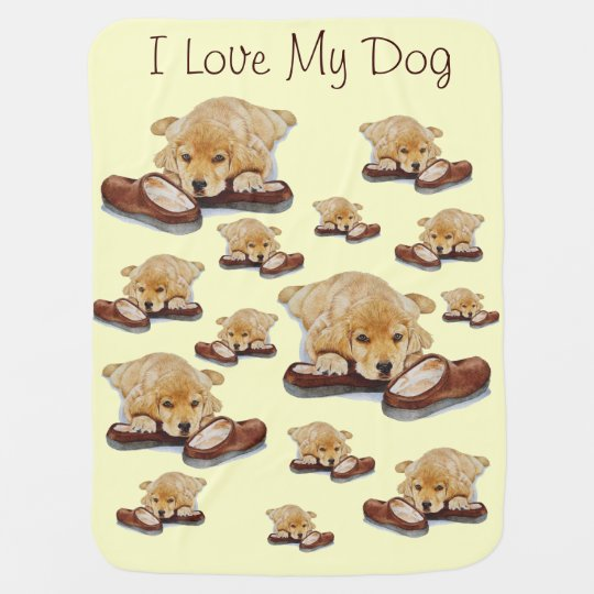 Cute Puppy Golden Retriever Cuddling Slippers Dog Baby