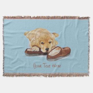 cute puppy golden retriever cuddling slippers throw blanket