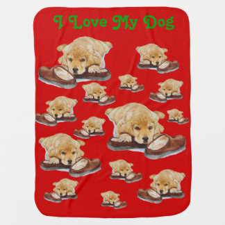 cute puppy golden retriever cuddling slippers swaddle blanket
