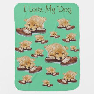 cute puppy golden retriever cuddling slippers baby blanket