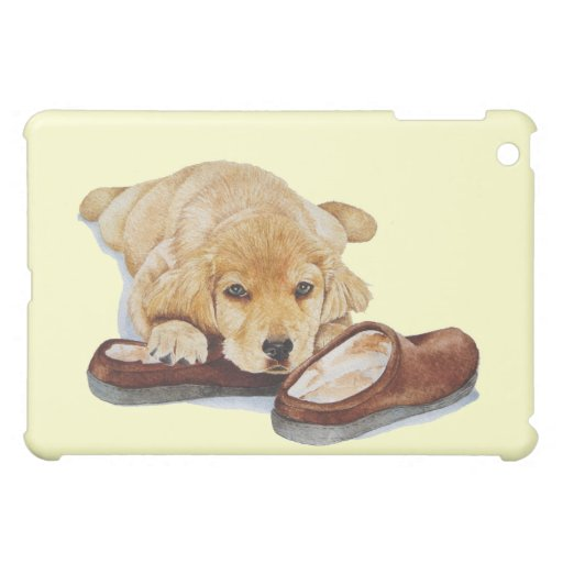cute puppy golden retriever dog cuddling slippers iPad mini covers