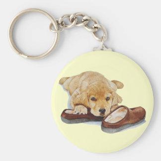 cute puppy golden retriever dog cuddling slippers keychain