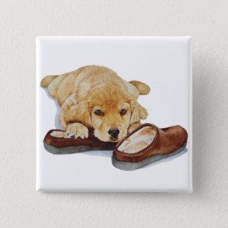 cute puppy golden retriever dog cuddling slippers pinback button