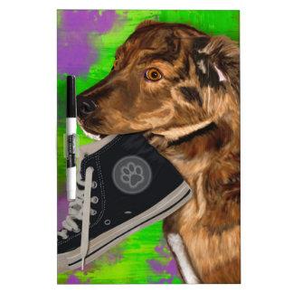 Cute Puppy Grabbing a Hi Top Sneaker Dry-Erase Board