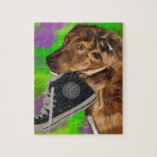 Cute Puppy Grabbing a Hi Top Sneaker Jigsaw Puzzle