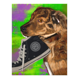 Cute Puppy Grabbing a Hi Top Sneaker Letterhead