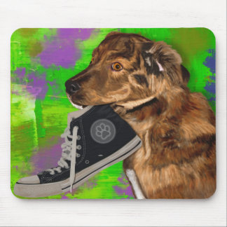 Cute Puppy Grabbing a Hi Top Sneaker Mouse Pad