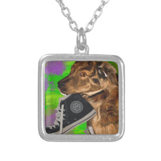 Cute Puppy Grabbing a Hi Top Sneaker Personalized Necklace