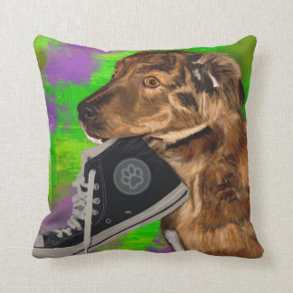 Cute Puppy Grabbing a Hi Top Sneaker Pillows