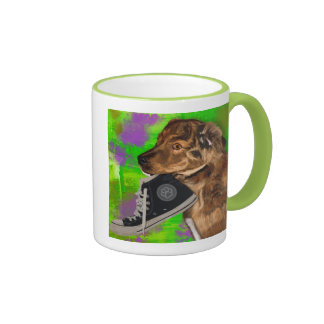 Cute Puppy Grabbing a Hi Top Sneaker Ringer Mug
