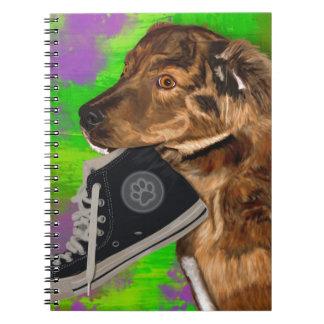 Cute Puppy Grabbing a Hi Top Sneaker Spiral Notebook