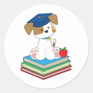 Cute Puppy Graduate Classic Round Sticker