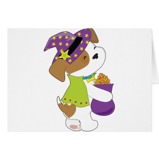 Cute Puppy Halloween Greeting Card