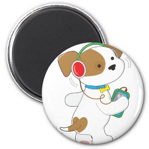 Cute Puppy Headphones 2 Inch Round Magnet