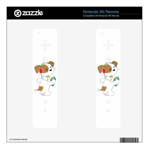 Cute Puppy Headphones Decals For Wii Remotes