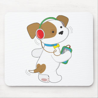 Cute Puppy Headphones Mouse Pad