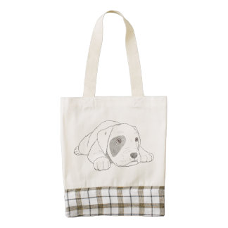 Cute Puppy HEART Tote, Leather Handle Zazzle HEART Tote Bag
