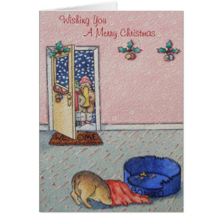 cute puppy hiding funny carol singers christmas card