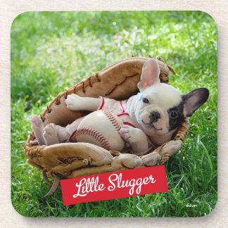 Cute Puppy in a Baseball Mitt Drink Coaster