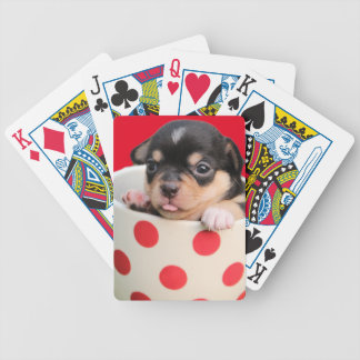 Cute Puppy in a Cup ~ cute purebred puppy in a cup Bicycle Playing Cards