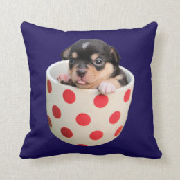Cute Puppy in a Cup ~ cute purebred puppy in a cup Throw Pillow