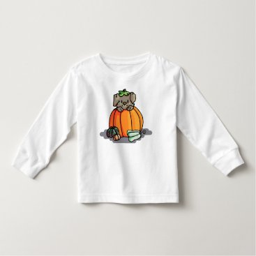 Halloween Themed Cute Puppy in a Pumpkin T-shirt -- Halloween
