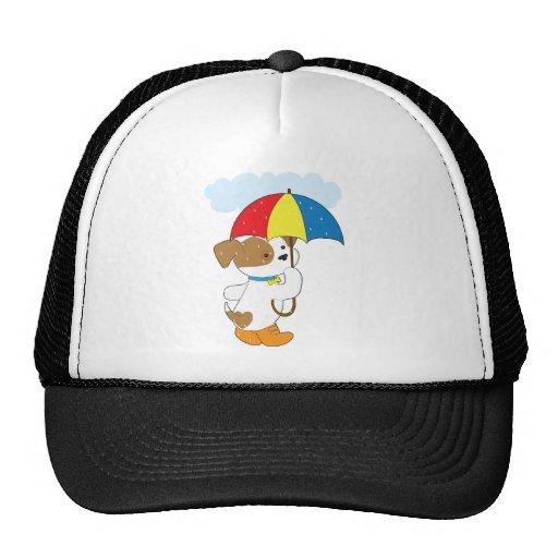 Cute Puppy in Rain Trucker Hat