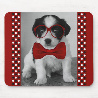 Cute Puppy in Red Bow and Glasses Mousepad