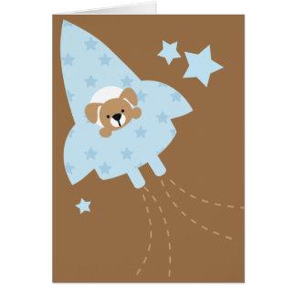 Cute Puppy in Rocket Ship Card