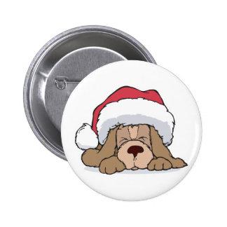 cute puppy in santa hat 2 inch round button