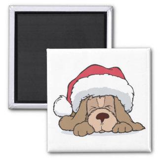 cute puppy in santa hat 2 inch square magnet