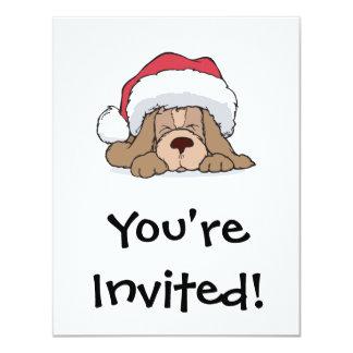 cute puppy in santa hat 4.25x5.5 paper invitation card