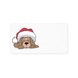 cute puppy in santa hat address label