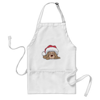 cute puppy in santa hat adult apron
