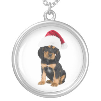 Cute puppy in Santa Hat Christmas image pendant