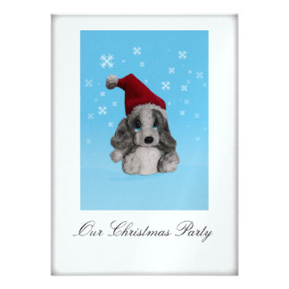 Cute Puppy In Santa Hat Christmas Party Invitation