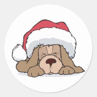 cute puppy in santa hat classic round sticker